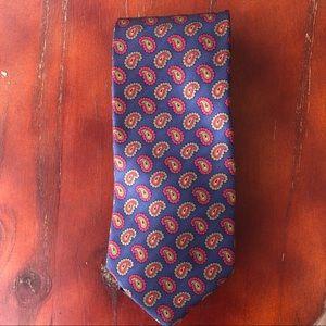 Lands' End EUC Blue Paisley 100% Silk Tie
